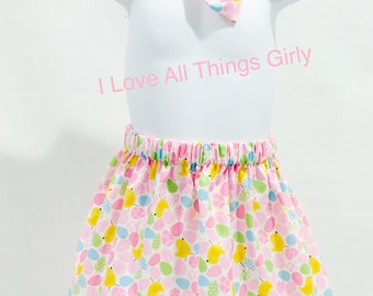 Girls Easter Skirt with matching bow, Toddler Easter Skirt, Easter Outfit, Easter Egg Skirt, Girl Skirts, Easter Bow.