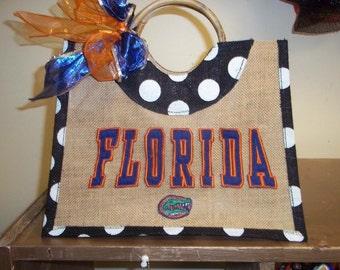 Handmade UF polka dot bag!