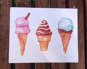 3 Watercolour Ice Cream Cones Unframed 8x10-inch Art Print
