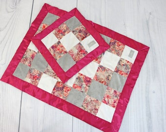 """Ultra Soft Lovie & Baby Blanket Gift Set -""""Nellie""""; patchwork pattern; faux fur, pink floral minky, silky picture frame satin"""