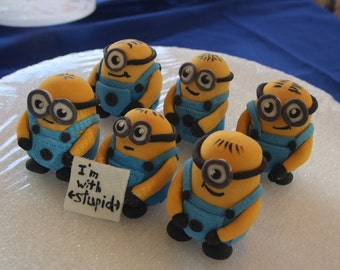 Fondant Minion cake toppers, 6 medium size