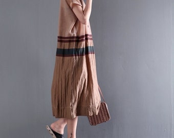 Women linen summer dress stitching dress casual dress with striped