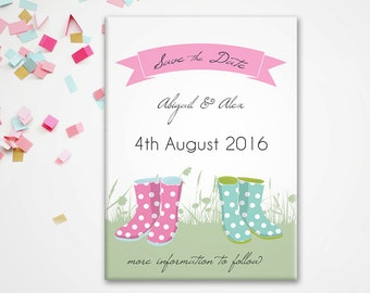 Save the Date Magnet - Well, Well, Wellies Country Wedding theme