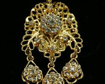 Gold filigree pendant, bridal pendant with Swarovski, floral motif