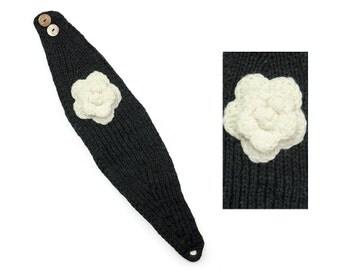 Hand Knit Wool Headband, Womens Winter Earwarmer - Black & Cream - 1735K