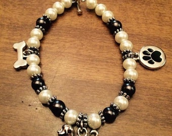"""7"""" Dog lover bracelet with toggle clasp"""
