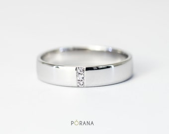 Simple Wedding Band/Band ring in 14K gold with 3 Diamonds