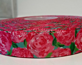 1 Yd Lilly Inspired Hotty Pink First Impression Grosgrain Ribbon