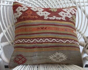 "handmade pillow 16"" x 16 bohemian throw pillow knitting floor pillow  house decor kilim pillow sofa pillow sofa pillow ottoman cover 367"