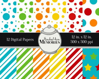 Digital Papers, Primary Dots and Diagonals, 12 inches x 12 inches, 300 ppi (dpi), Scrapbooking & Craft Papers, Downloadable and Printable