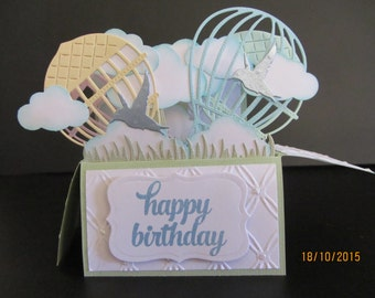 Handmade 3D Birthday greeting  card,  card in a box- hot air balloons Personalised