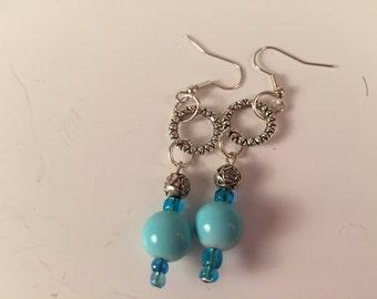 Blue ball Dangle Earrings
