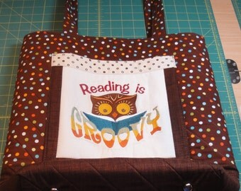"""Embroidered quilted bookbag, handbag or project bag.  It is 13 1/2"""" wide by 15"""" tall and 5"""" deep."""