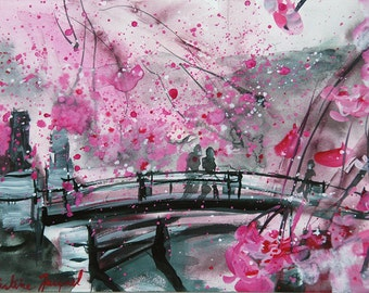 Original painting of a bridge in flowers, original watercolor of a bridge in pink flowers, spring, interior decoration, cherry blossoms
