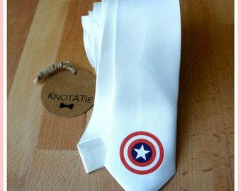 Man Neck Tie.PRINTED.Captain America Necktie.Skinny Tie.mens tie.Man tie.Captain America Gift.Superheroes necktie.Neck ties.Superhero Tie