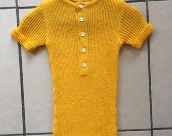 1970s Baby Bright Yellow Knit Onesie