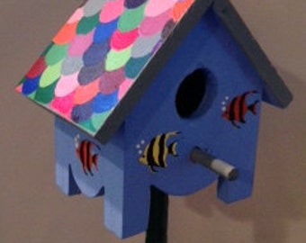 Mini Birdhouse Garden Stake (Small) - Blue with fishscale roof and angel fish
