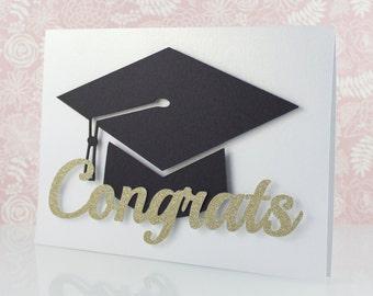 Graduation Card, Gold Glitter, New Grad, Congratulations, Graduate, Grad Cap, Handmade, Elegant, College, High School, Graduation Gift