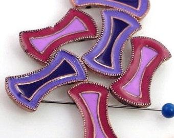 6 Enamel Art Deco Slider 2 Hole Beads 8078