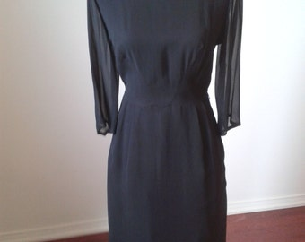1950's Black Fitted Wiggle Dress Chiffon Sleeves.