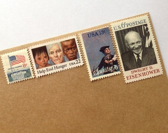Vintage Postage Arrangement // Unused Stamps // 49 Cent Combo // To Post 5 Letters