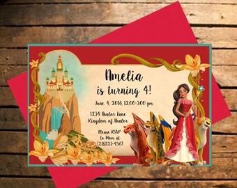 Downloadable Elena of Avalor Themed Birthday Invitation