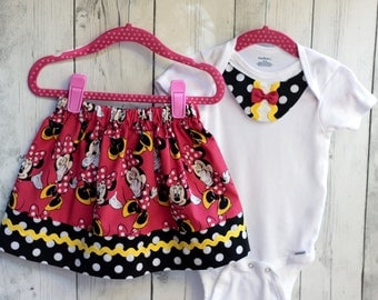 minnie mouse skirt, girl minnie mouse, girl disney outfit, girl disney skirt, minnie mouse onesie, baby minnie mouse, baby disney dress