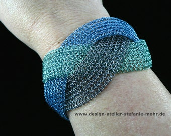 wire crochet braided bracelet 3-colored - ocean or grey/rosé shades