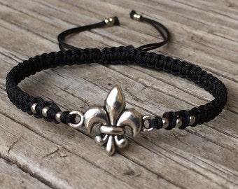 Fleur de lis Bracelet, Fleur de lis Anklet , Adjustable Macrame Cord Bracelet, Fleur de Lis Jewelry, Macrame Jewelry, Gift for Her, Gift