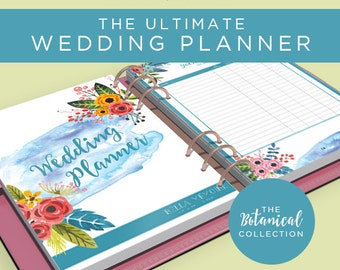 Printable Wedding Planner - Botanical Collection // INSTANT DOWNLOAD // Wedding Organiser, DIY Planner, Printable To Do List // 75 pages