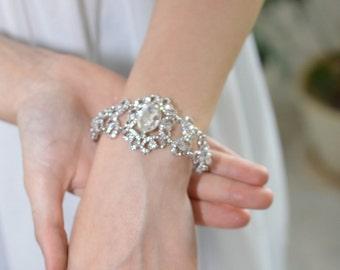 Vintage Wedding Bracelet, Vintage Silver Bracelet, Art deco Wedding Bracelet, Silver Wedding Bracelet,  Art deco Bridal Bracelet, Ref ELSA