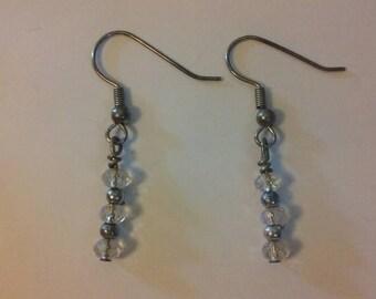 White Swarovski Crystal Earrings.  Handmade.
