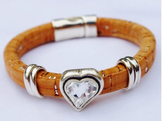 Portugues cork and Swarovski crystal bracelet