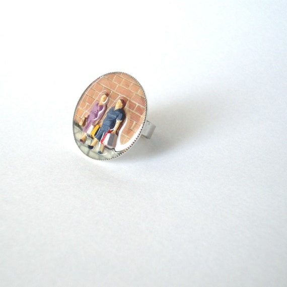 miniature ring, resin ring, contemporary ring, adjustable ring, couple ring, shopping ring