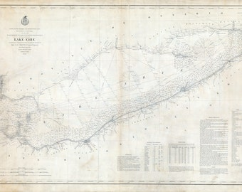 1880 Nautical Map of Lake Erie