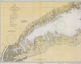 1934 Nautical Map of Long Island Sound Western Part New York