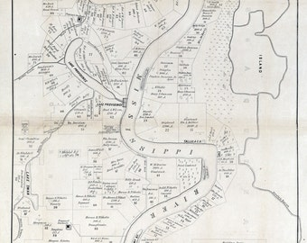 1860 Map of Plantations in Carrol Parish Louisiana and Issaquena County Mississippi