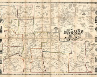 1855 Map of Broome County NY Binghamton