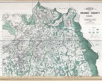 1890 Map of Orange County Florida Orlando