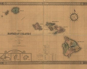 1876 Map of the Hawaiian Islands