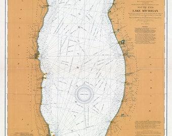 1905 Nautical Map South End of Lake Michigan