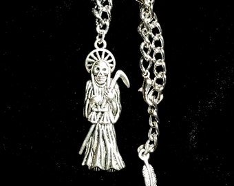 Silver Grim Reaper Pendant on Silver Hypo Allergenic Nickel Free Chain Necklace/Skeletons/Body Jewelry/Obscure Jewelry/Skull/Reaper Necklace