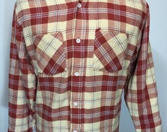 70's vintage big mac flannel shirt 100% cotton red plaid mens size medium