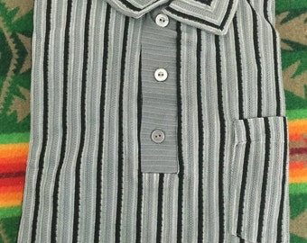 60's vintage deadstock half button up long sleeve striped shirt gray black mens size L