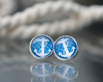 Anchor Earrings,blue studs, red anchor earrings, nautical earrings, post earrings,marina jewelry,buy 2 get 3