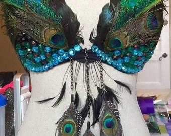 Feather bra - owl / EDC / Rave