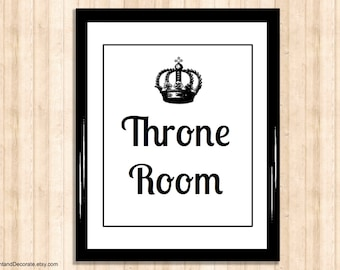 Bathroom Art Print - THRONE ROOM - bathroom wall art, toilet decoration, toilet humor, toilet poster, art print, room decoration, typography