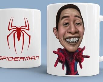 Custom Caricature Spiderman, Spiderman Gift, Spiderman Mug, Superhero Mug, Gift For Man, Best Friend Mug, Best Friend Gift