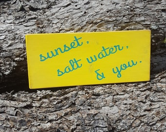 Rustic Wood Sign Sunset Salt Water and You Pallet Wood Coastal Sign Beach Decor Gift Beach Sign Rustic Wood Sign Home Decor Wood Sign