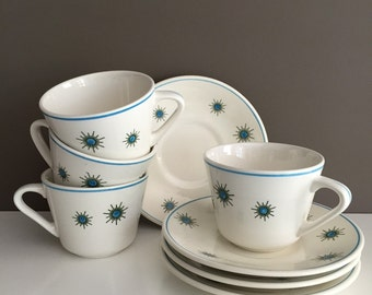 Anfora Tea Cups & Saucers - set of four